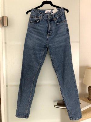 Mango Jeans boyfriend bleu azur coton