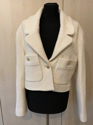 Zara Blazer Tweed blanco puro-crema