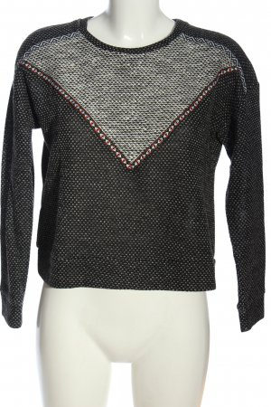 Mango Cropped Pullover schwarz-weiß meliert Casual-Look