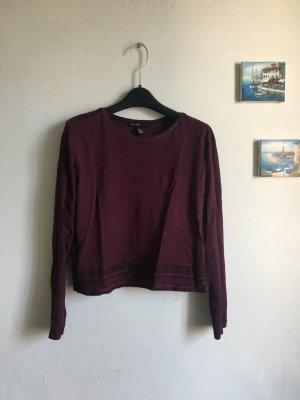Mango cropped top Shirt Longsleeve Pullover Pulli XS dunkelrot
