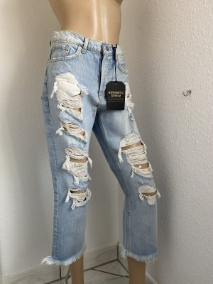 Mango Jeans a 7/8 azzurro Cotone