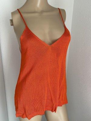 MANGO Damen Stricktop mit Netallic-Effekt in neon orange Gr.S