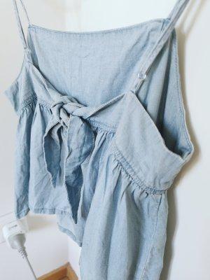 Mango Damen Trägerhemd Top hellblau jeans Denim Gr.S 36