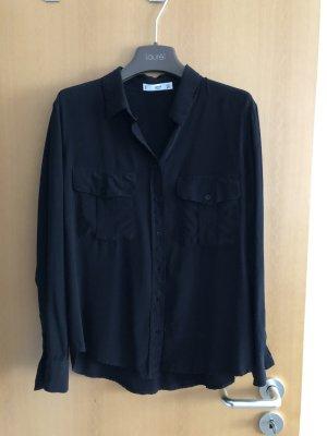 Mango Damenbluse Gr. M Schwarz Viskose Langarm Bluse Hemd