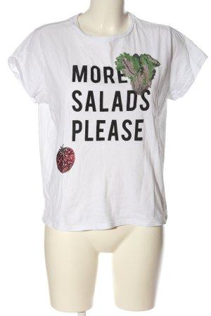 Mango Denim & Tees T-shirt imprimé blanc-noir imprimé avec thème