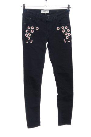 Mango Denim & Tees Röhrenhose schwarz-pink Blumenmuster Casual-Look
