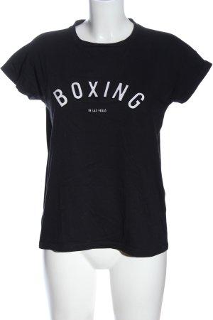 Mango Denim & Tees T-shirt noir-blanc lettrage imprimé style décontracté