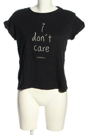 Mango Denim & Tees T-Shirt schwarz-weiß Motivdruck Casual-Look