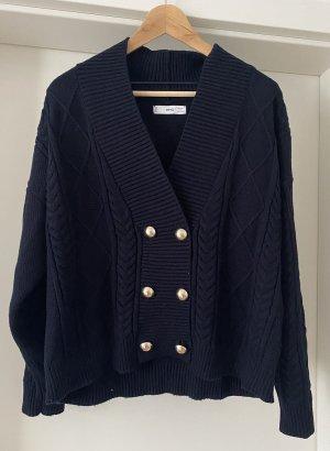 Mango Knitted Wrap Cardigan dark blue viscose