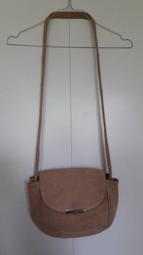 Mango echtes Leder kleine Handtasche Umhängetasche beige gold