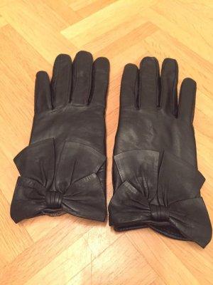 Mango Leren handschoenen zwart
