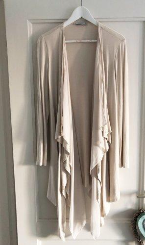 Mango Elegante Wasserfall-Strickjacke, zweilagig, beige / creme, Gr. S