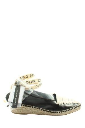 Mango Espadrilles-Sandalen schwarz-wollweiß Motivdruck Casual-Look