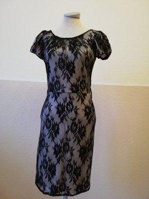 Mango Etuikleid schwarz weiß Spitze Spitzenkleid knielang Gr. XS 34 Kleid