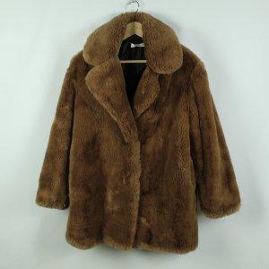 Mango Płaszcz ze sztucznym futrem brązowy Poliester