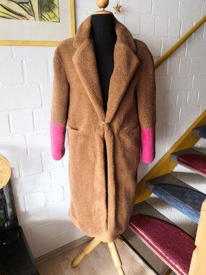 Mango Fake Fur Coat brown-pink