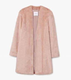 Mango Faux Fur Light Pink/Beige Coat