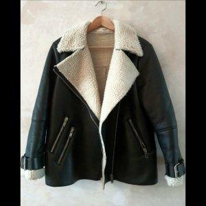 Mango Faux Sheepskin Biker Jacket S