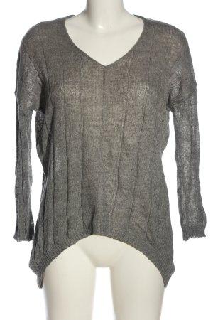 Mango Fine Knit Jumper light grey striped pattern casual look