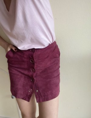 Mango Leather Skirt bordeaux-brown red