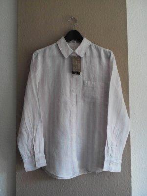 Mango gestreifte Hemdbluse in weiß-hellrosa aus 100% Leinen, Größe M, neu