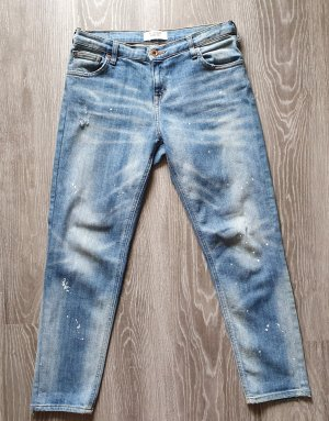 Mango Jeans boyfriend blanc-bleu