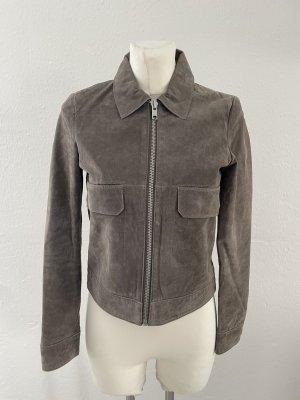 Mango gr S echt Leder velour Lederjacke grau genuine leather