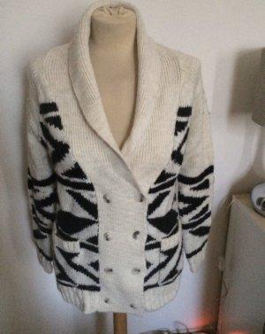 Mango Coarse Knitted Jacket black-natural white