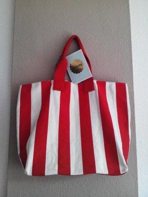 Mango große gestreifte Shopper Tasche aus 65% Baumwolle, neu