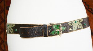 Mango Faux Leather Belt brown-green