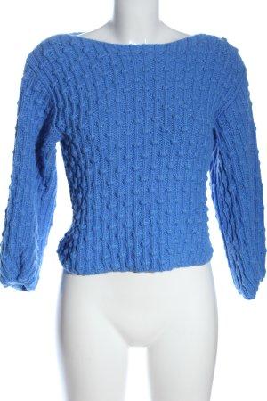 Mango Szydełkowany sweter niebieski Warkoczowy wzór W stylu casual