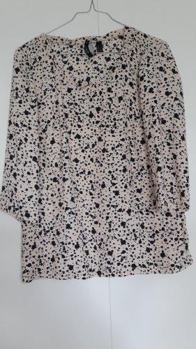 Mango Halbarm Bluse Tupfen rosa-beige schwarz weiß gerader Schnitt Gr. S