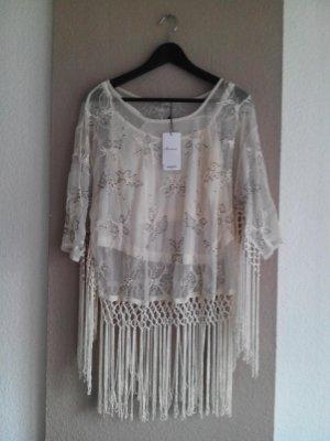 Mango handgearbeitete Bluse in Netzoptik mit Fransen, Blumenstickerei und Perlenverzierung, Größe  M neu