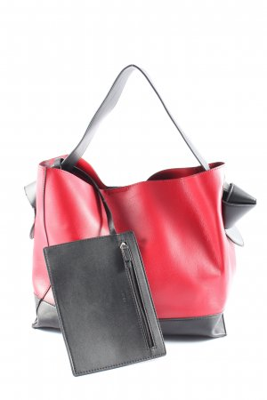 Mango Handtasche rot-schwarz Casual-Look