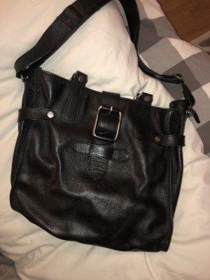 Mango Handtasche Leder schwarz silber
