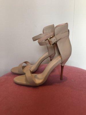 Mango Heels Riemchen Sandalen Stilettos Sandaletten beige nude Gold 37 38 Leder