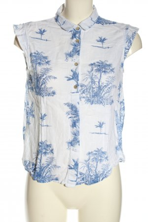 Mango Hemd-Bluse weiß-blau Allover-Druck Casual-Look