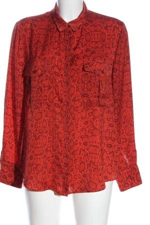 Mango Hemd-Bluse rot-schwarz Allover-Druck Casual-Look