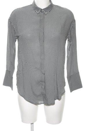 Mango Hemd-Bluse weiß-schwarz Punktemuster Elegant