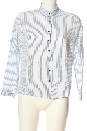Mango Hemd-Bluse weiß-schwarz Streifenmuster Casual-Look