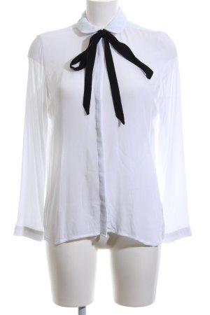 Mango Hemd-Bluse weiß-schwarz Elegant