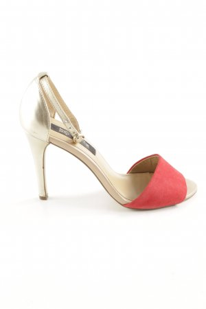 Mango High Heel Sandaletten goldfarben-rot Elegant