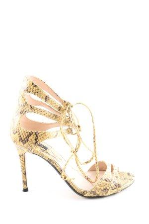 Mango High Heel Sandaletten blassgelb-braun Allover-Druck extravaganter Stil