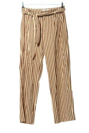 Mango High-Waist Hose braun-creme Streifenmuster Casual-Look