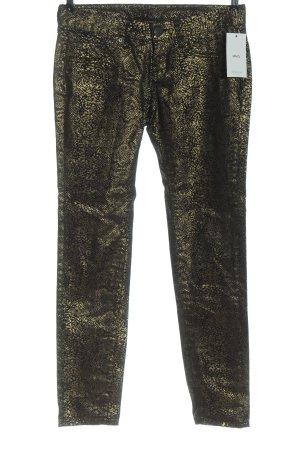 Mango High Waist Jeans schwarz-goldfarben Allover-Druck Casual-Look