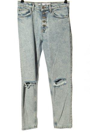 Mango High Waist Jeans blau-weiß Casual-Look
