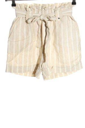 Mango High-Waist-Shorts creme-wollweiß Streifenmuster Casual-Look