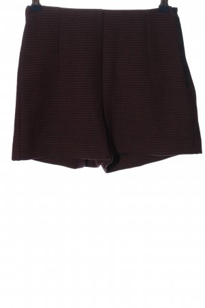 Mango High-Waist-Shorts rot-schwarz Karomuster Casual-Look