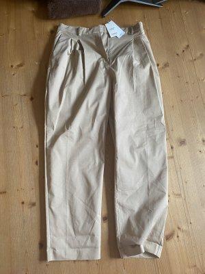 Mango Spodnie z zakładkami beżowy