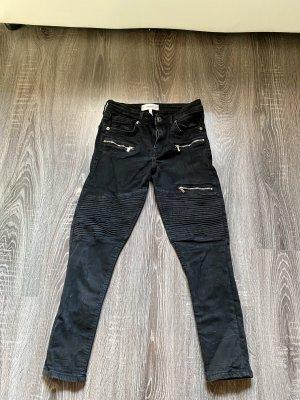 Mango Pantalon cigarette noir-argenté